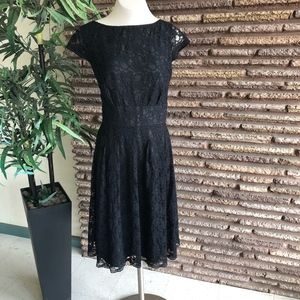 Jones Wear Black Lace Fit and Flare Dress Plus